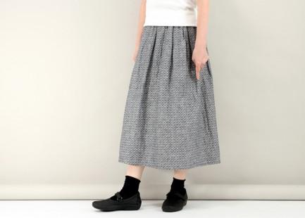タックギャザースカート(麻混ジャガード)#134